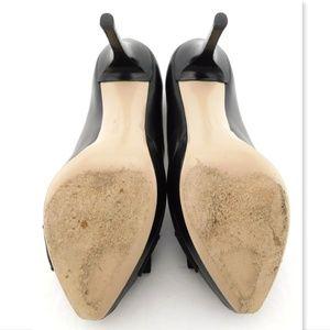 Salvatore Ferragamo Shoes - FERRAGAMO Black Vara Logo Bow Peep Toe Pumps 7